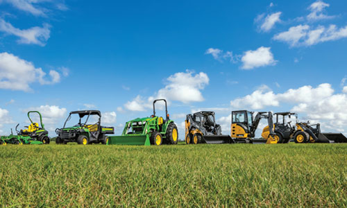 John Deere equipment in a field.